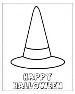 Happy Halloween Witches Hat Color Page Halloween Movies Witch Hat Coloring Page